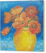 Orange Poppies In Yellow Vase Wood Print