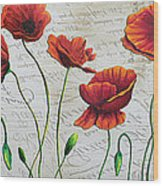 Orange Poppies Original Abstract Flower Painting By Megan Duncanson Wood Print