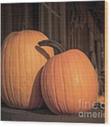 Orange Pumpkins Wood Print