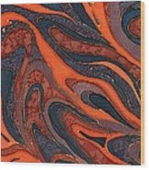 Orange Purple Blue Silk Design 1 Wood Print