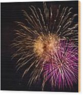 Orange Purple Fireworks Galveston Wood Print