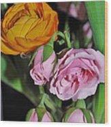 Orange Ranunculus And Pink Roses Wood Print
