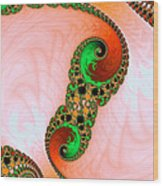 Orange Red And Green Abstract Fractal Art Wood Print