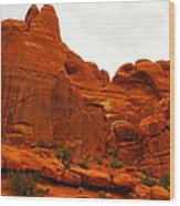 Orange Rock Wood Print