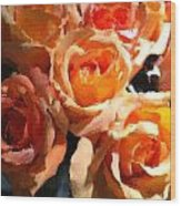 Orange Roses Wood Print