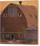 Orange Sky Barn Wood Print