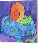 Orange Snail Wood Print