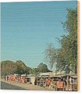 Orange Stalls Wood Print
