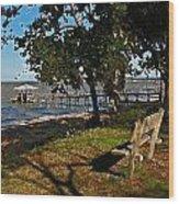 Orange Street Pier Bench Wood Print
