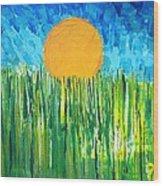 Orange Sun Wood Print