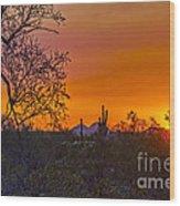 Orange Sun Setting Wood Print