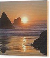 Orange Sunset Behind Offshore Rocks Wood Print