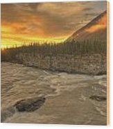 Orange Sunset On Sluice Box Rapids Wood Print
