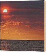 Orange Sunset Over Oyster Bay Wood Print
