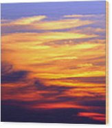 Orange Sunset Sky Wood Print