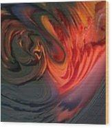Orange Swirls Wood Print by Kimberly Lyon