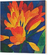 Orange Tropical Flowers Wood Print