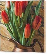 Orange Tulips In Copper Pitcher Wood Print