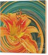 Orange Twist Daylily Photoart Wood Print
