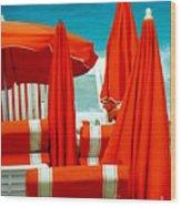 Orange Umbrellas Wood Print