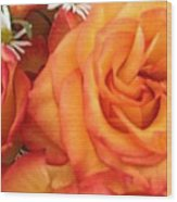 Orange Utopia Roses Wood Print