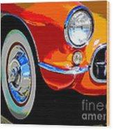Orange Vette Wood Print