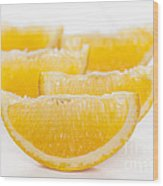 Orange Wedges On White Background Wood Print by Colin and Linda McKie