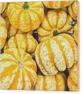 Orange Winter Squash On Display Wood Print