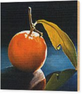 Orange With Leaf Wood Print