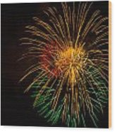Orange Yellow Green Fireworks Galveston Wood Print