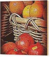 Oranges And Persimmons Wood Print