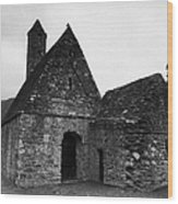 Oratory Known As St Kevins Kitchen Glendalough Monastery County Wicklow Republic Of Ireland Wood Print