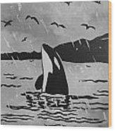 Orca Free And Happy Wood Print