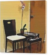 Orchid By A Chair Wood Print