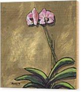 Orchid On Khaki Wood Print