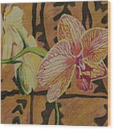 Orchid With Tapa Wood Print