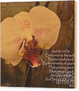 Orchid With Verse Wood Print