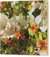 Orchids And Hydrangea Wood Print