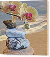 Orchids And Pebbles On Sand Wood Print