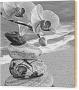 Orchids And Pebbles On The Sand In Black And White Wood Print