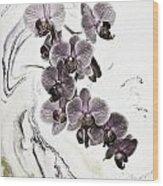 Orchids And Suminagashi Wood Print