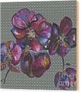 Orchids Grey Bubble Wood Print