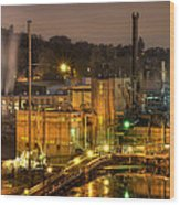 Oregon City Electricity Power Plant At Night Wood Print