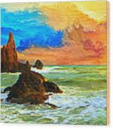 Oregon Coast At Sunset Wood Print
