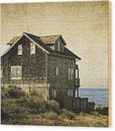 Oregon Coast Beach House Wood Print