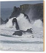 Oregon Coast Furrious Waves 1 Wood Print