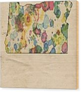 Oregon Map Vintage Watercolor Wood Print