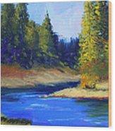 Oregon River Landscape Wood Print