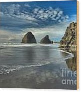 Oregon Sea Stack Surf Wood Print by Adam Jewell