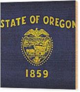 Oregon State Flag Art On Worn Canvas Wood Print